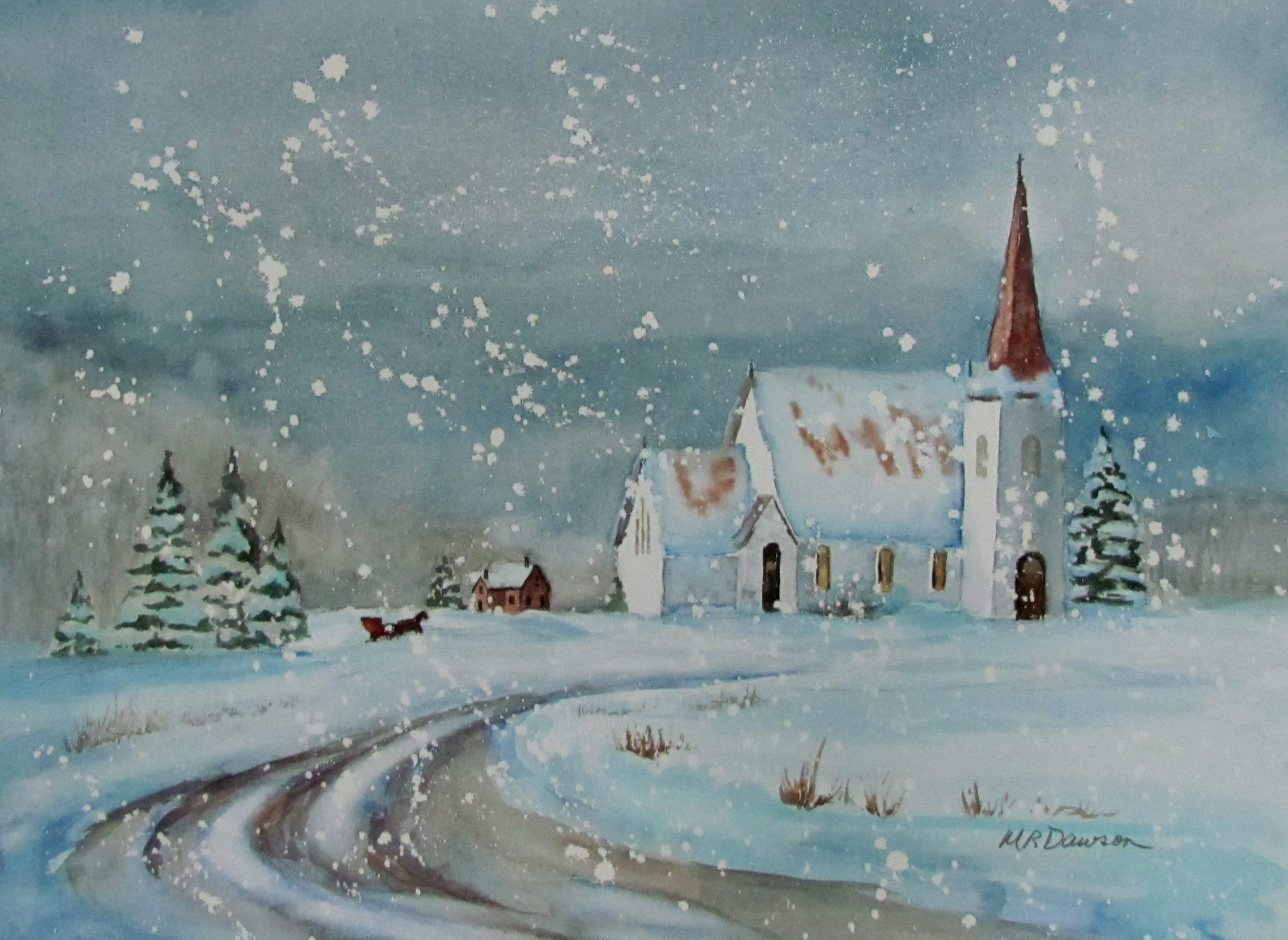 Christmas card paintings margaret dawson Christmas card scenes to paint