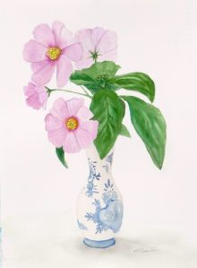 Cosmos & Basil - watercolour - unframed - $250