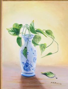 Blue Vase with Ivy oil painting 16 X 20 - for sale $350