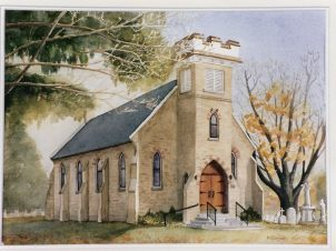 Simcoe Church in fall sold