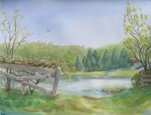 """Michigan lake boat launch"" for sale watercolor 15 X 22 for sale"