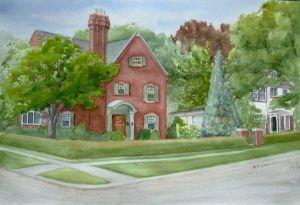 Walkerville home watercolor - for sale