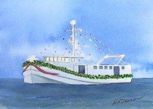 xmas fishing boat