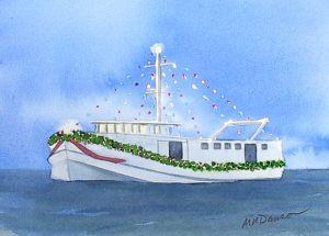 xmas fishing boat